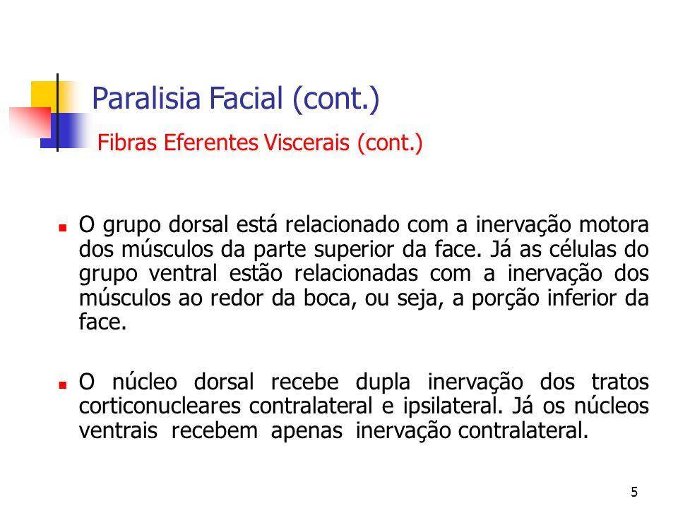 5 Paralisia Facial (cont.) O grupo dorsal está relacionado com a inervação motora dos músculos da parte superior da face. Já as células do grupo ventr