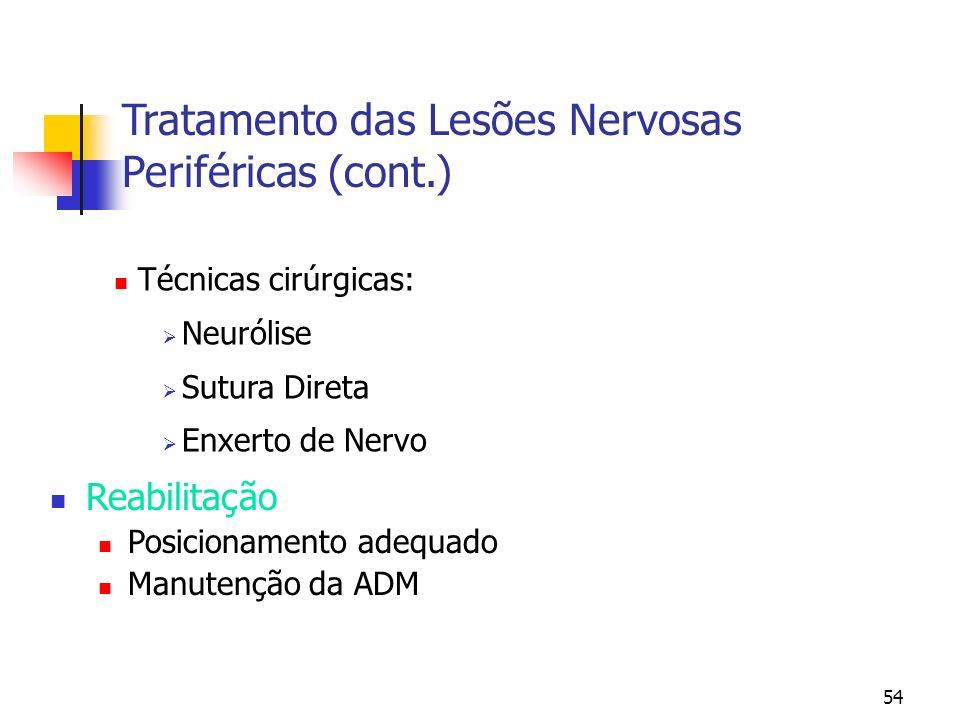 54 Técnicas cirúrgicas: Neurólise Sutura Direta Enxerto de Nervo Tratamento das Lesões Nervosas Periféricas (cont.) Reabilitação Posicionamento adequa