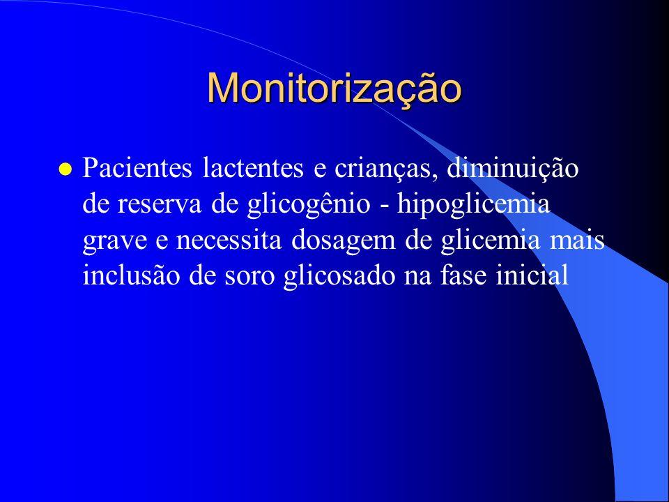 Monitorização l Pacientes diabéticos em uso de insulina pode necessitar soro glicosado na fase aguda.