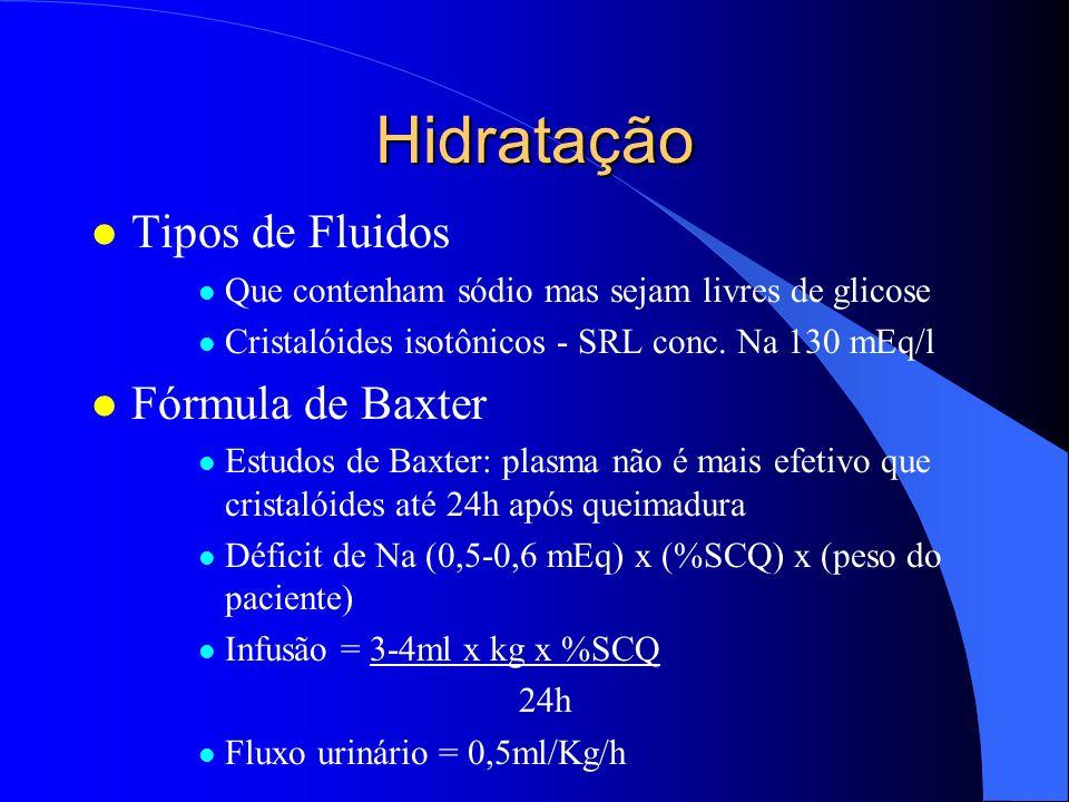 Hidratação l Fórmula de Parkland l (Peso paciente) x (%SCQ) x (4ml) 24h l SRL l Hora zero do acidente l 50% fluido - primeiras 8 horas l 25% fluido - em cada 8 horas restante