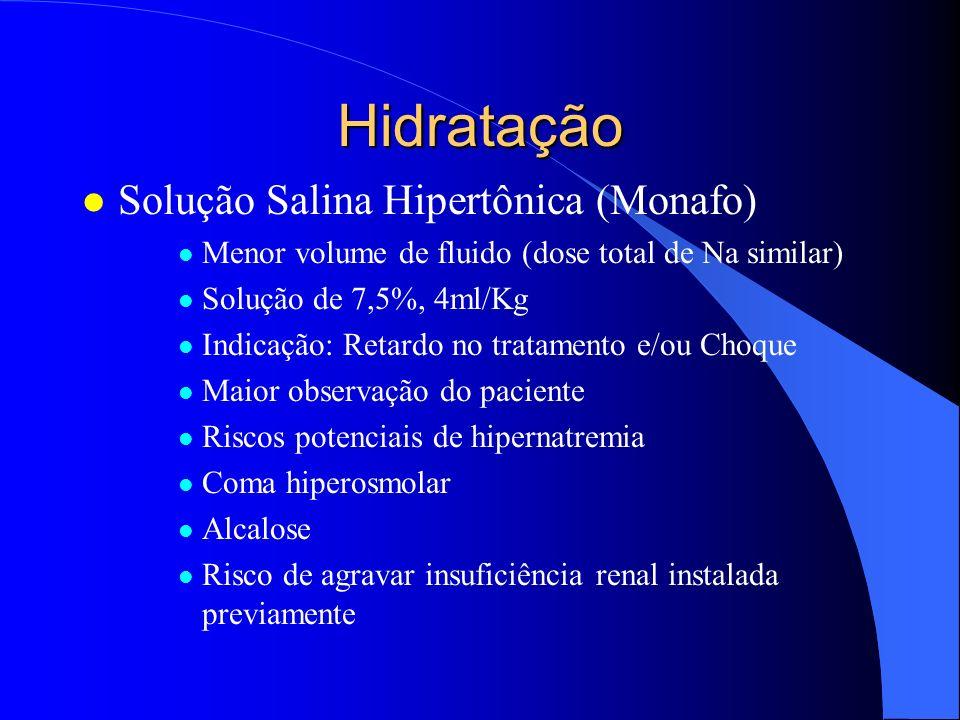 Hidratação l Não infundir proteínas nas primeiras horas após a queimadura e/ou Colóides não protéicos (Dextrana) l Não usar hemoderivados