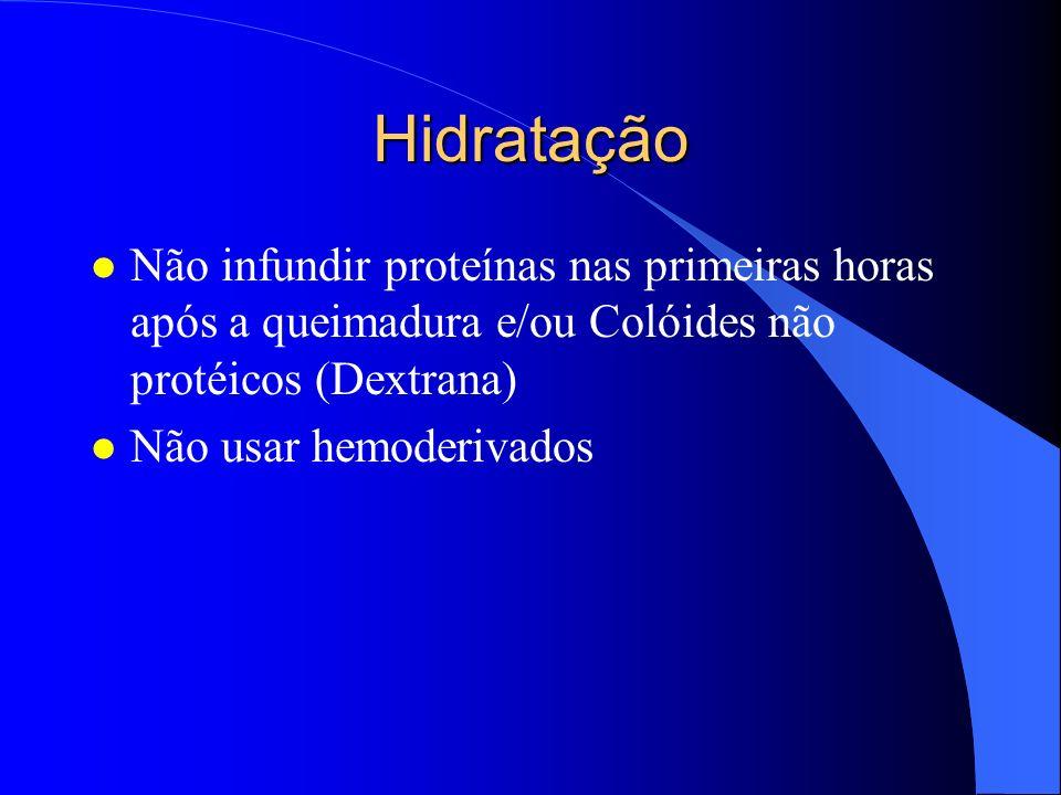 Monitorização l Fluxo horário de urina é um guia extremamante útil, porque mantém o fluxo sanguíneo renal refletindo na perfusão adequada dos outros orgãos l Sonda vesical de demora l Adulto: Volume urinário (0.5-1.0 ml/kg/h) l Criança: Volume urinário (1ml/kg/h) l Hiper-hidratação: ICC-EAG-Morte l Deshidratação: IRA