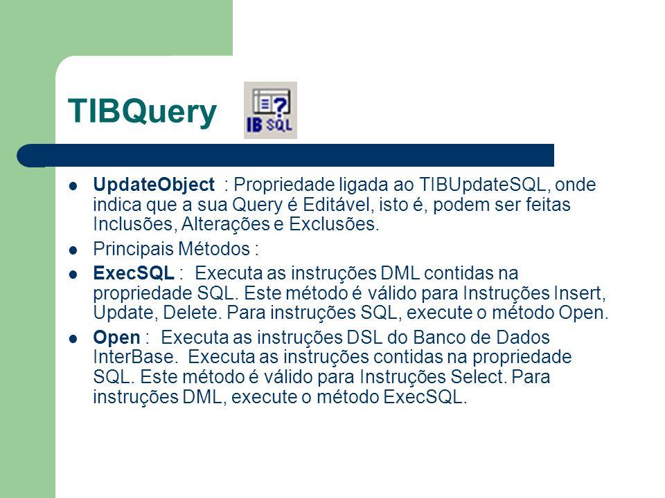 TIBQuery UpdateObject : Propriedade ligada ao TIBUpdateSQL, onde indica que a sua Query é Editável, isto é, podem ser feitas Inclusões, Alterações e E