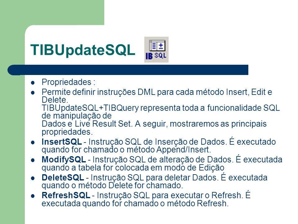 TIBUpdateSQL Propriedades : Permite definir instruções DML para cada método Insert, Edit e Delete.