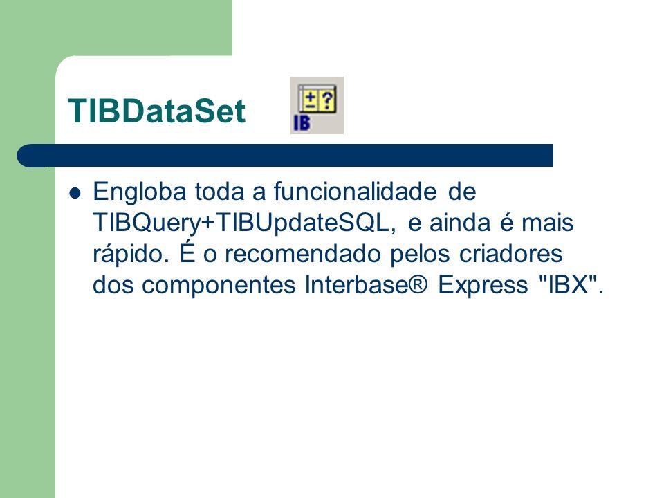 TIBDataSet Engloba toda a funcionalidade de TIBQuery+TIBUpdateSQL, e ainda é mais rápido. É o recomendado pelos criadores dos componentes Interbase® E