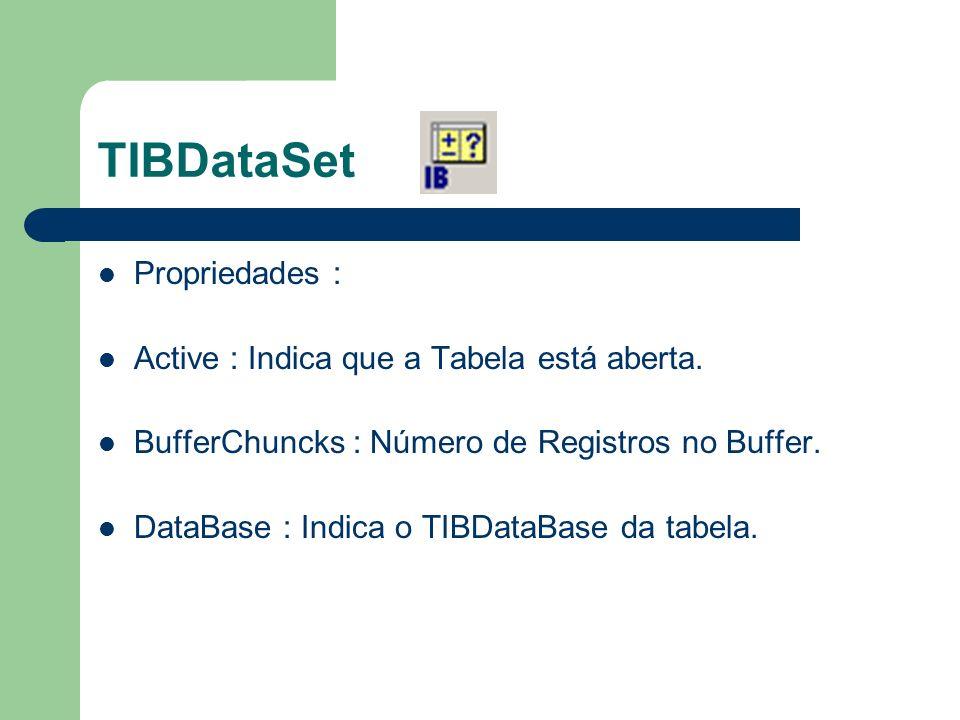 TIBDataSet Propriedades : Active : Indica que a Tabela está aberta. BufferChuncks : Número de Registros no Buffer. DataBase : Indica o TIBDataBase da