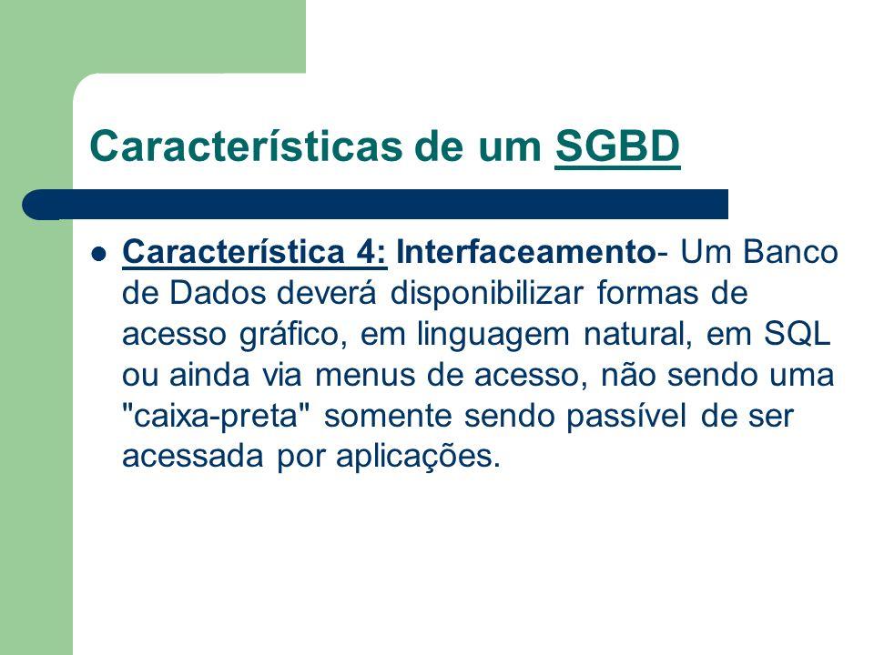 Características de um SGBD Característica 4: Interfaceamento- Um Banco de Dados deverá disponibilizar formas de acesso gráfico, em linguagem natural,