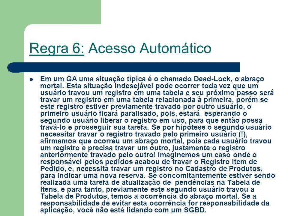 Regra 6: Acesso Automático Em um GA uma situação típica é o chamado Dead-Lock, o abraço mortal. Esta situação indesejável pode ocorrer toda vez que um
