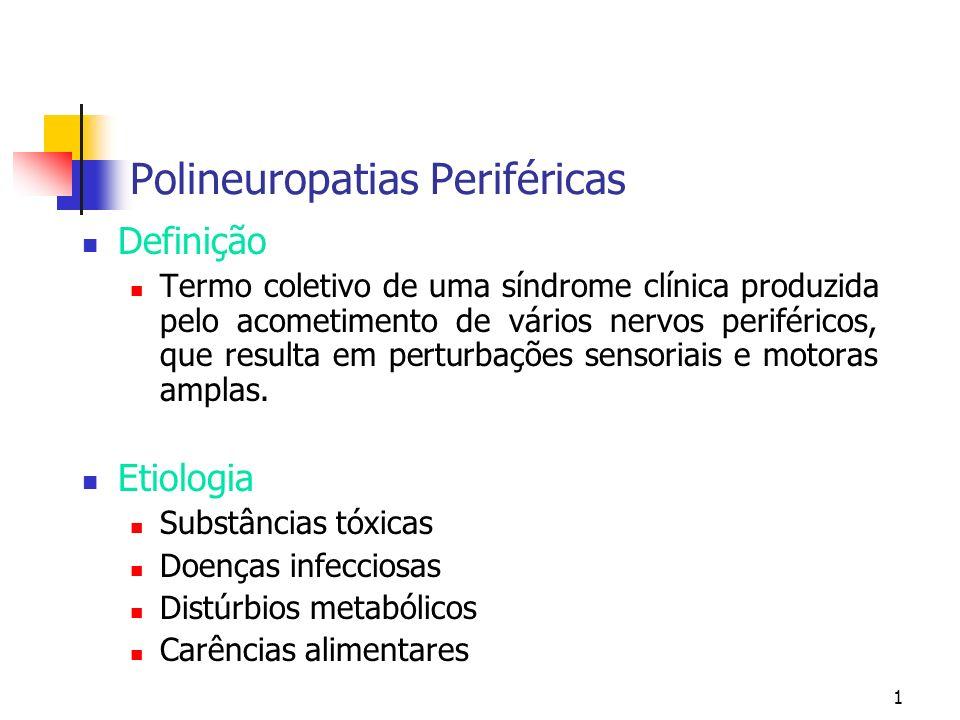 1 Polineuropatias Periféricas Definição Termo coletivo de uma síndrome clínica produzida pelo acometimento de vários nervos periféricos, que resulta e