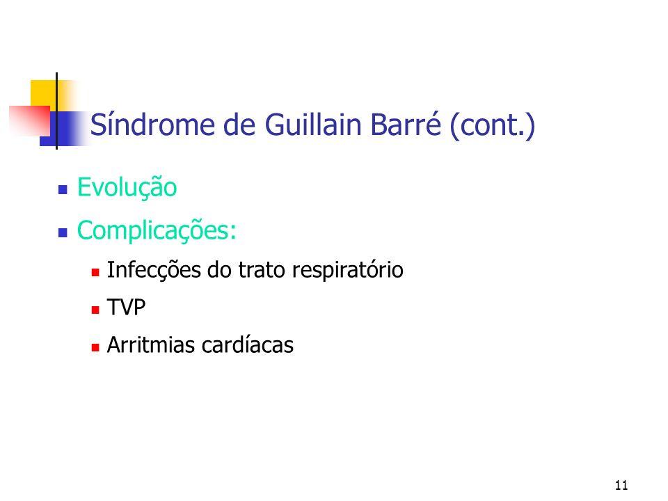 11 Evolução Complicações: Infecções do trato respiratório TVP Arritmias cardíacas Síndrome de Guillain Barré (cont.)