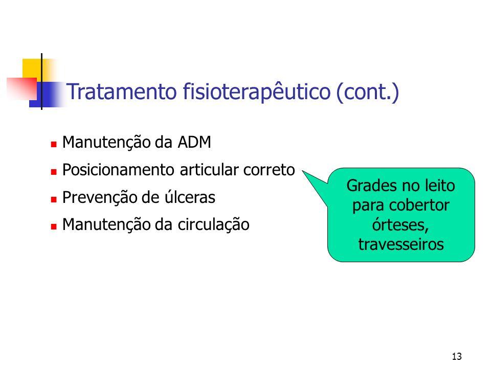 13 Manutenção da ADM Posicionamento articular correto Prevenção de úlceras Manutenção da circulação Tratamento fisioterapêutico (cont.) Grades no leit