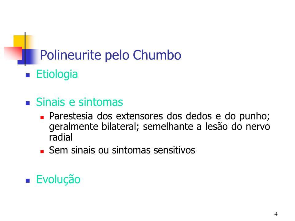 4 Polineurite pelo Chumbo Etiologia Sinais e sintomas Parestesia dos extensores dos dedos e do punho; geralmente bilateral; semelhante a lesão do nerv