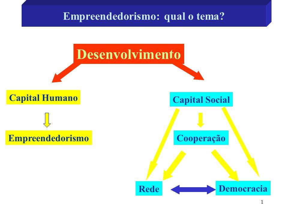 1 Empreendedorismo: qual o tema? Desenvolvimento Capital Humano Capital Social EmpreendedorismoCooperação Rede Democracia