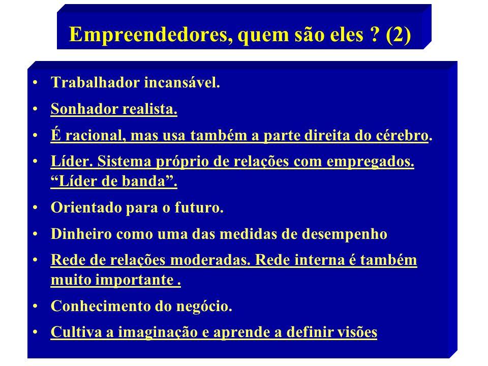 10 Empreendedores, quem são eles ? (2) Trabalhador incansável. Sonhador realista. É racional, mas usa também a parte direita do cérebro. Líder. Sistem