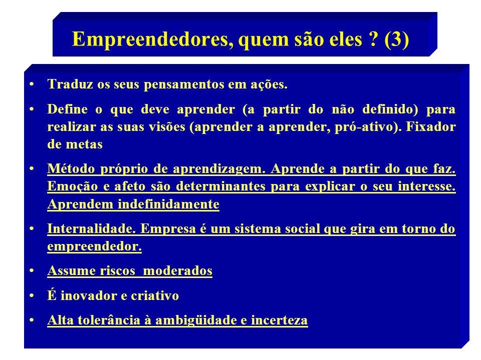 11 Empreendedores, quem são eles ? (3) Traduz os seus pensamentos em ações. Define o que deve aprender (a partir do não definido) para realizar as sua