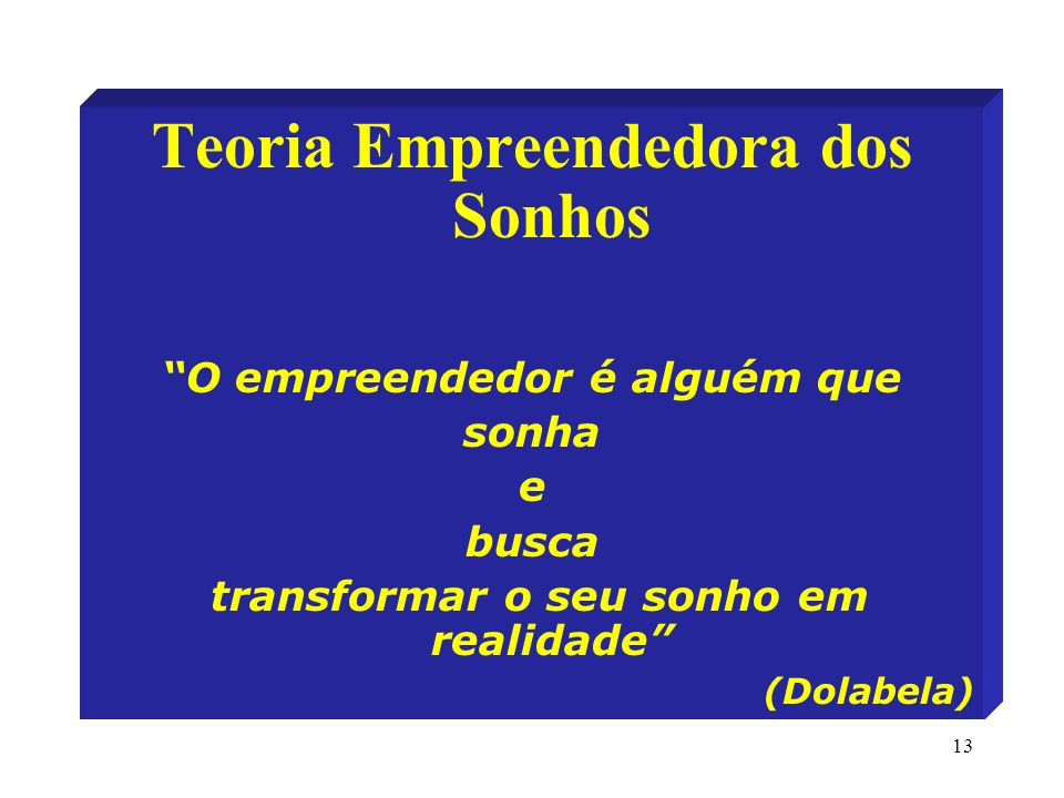 13 Teoria Empreendedora dos Sonhos O empreendedor é alguém que sonha e busca transformar o seu sonho em realidade (Dolabela)