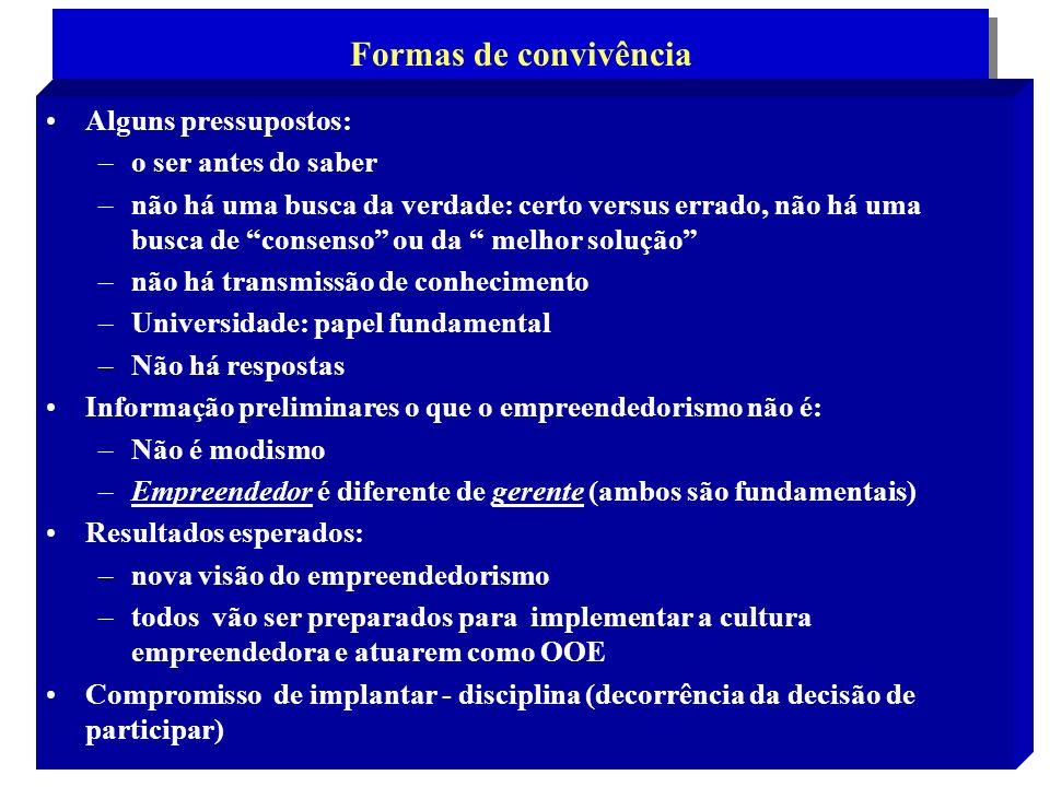 2 Formas de convivência Alguns pressupostos: –o ser antes do saber –não há uma busca da verdade: certo versus errado, não há uma busca de consenso ou