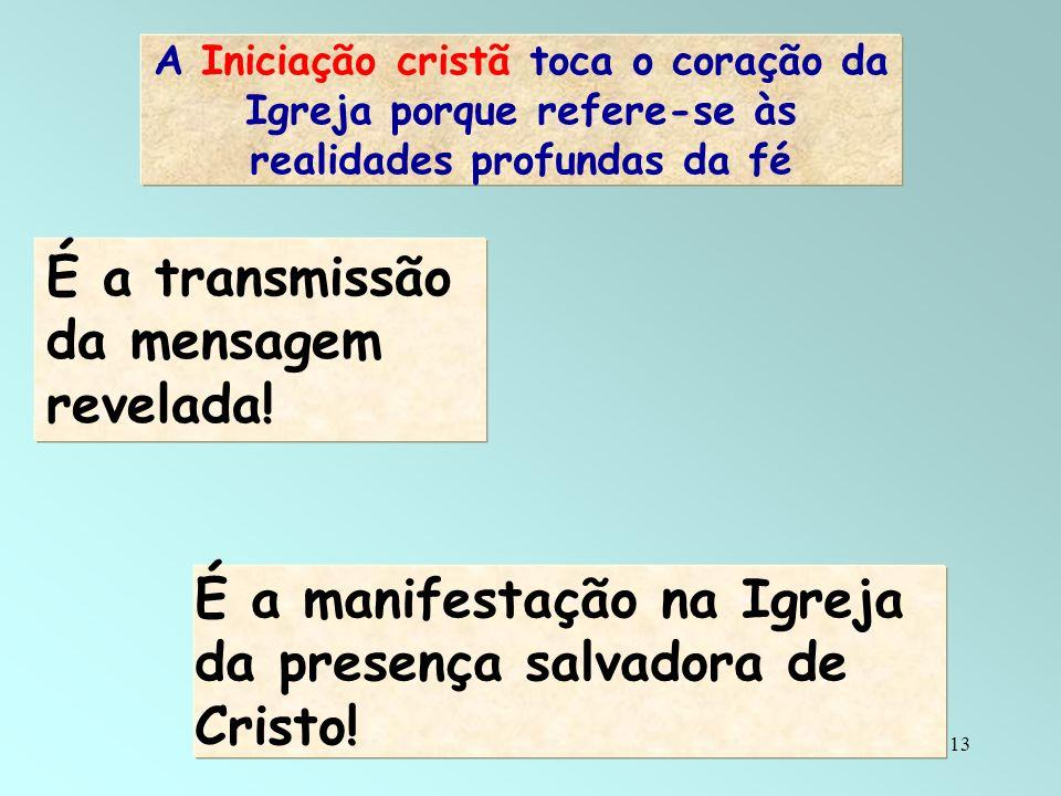13 A Iniciação cristã toca o coração da Igreja porque refere-se às realidades profundas da fé É a transmissão da mensagem revelada! É a manifestação n