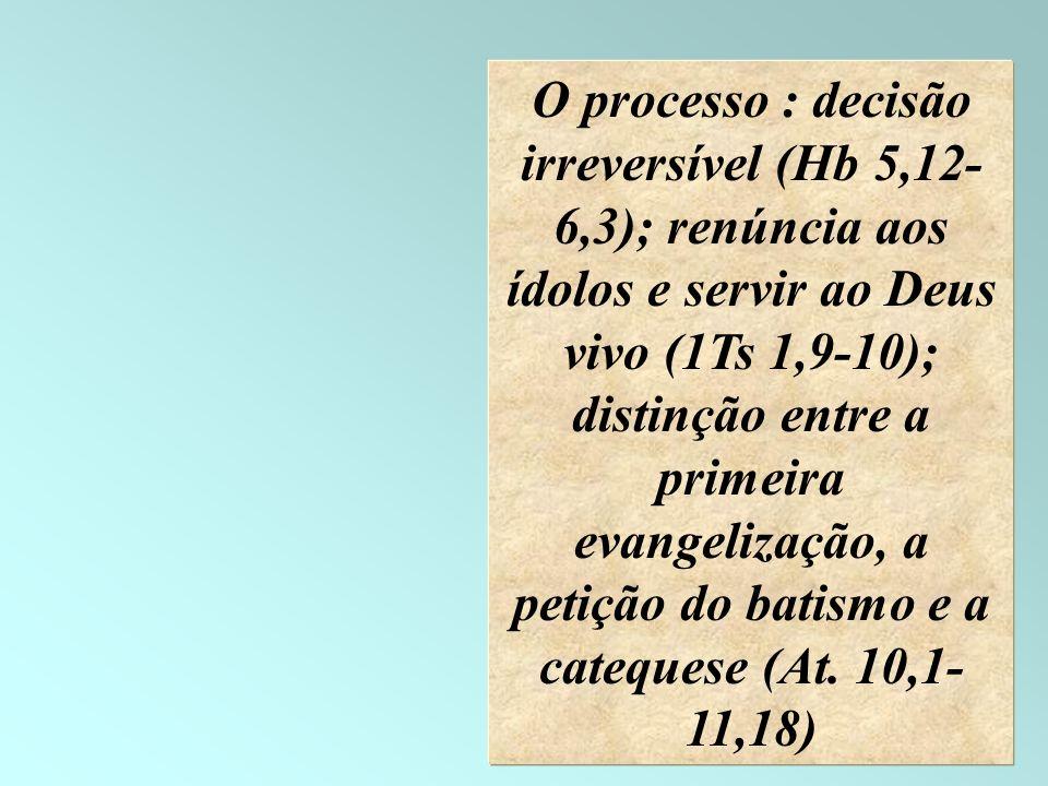 18 O processo : decisão irreversível (Hb 5,12- 6,3); renúncia aos ídolos e servir ao Deus vivo (1Ts 1,9-10); distinção entre a primeira evangelização,