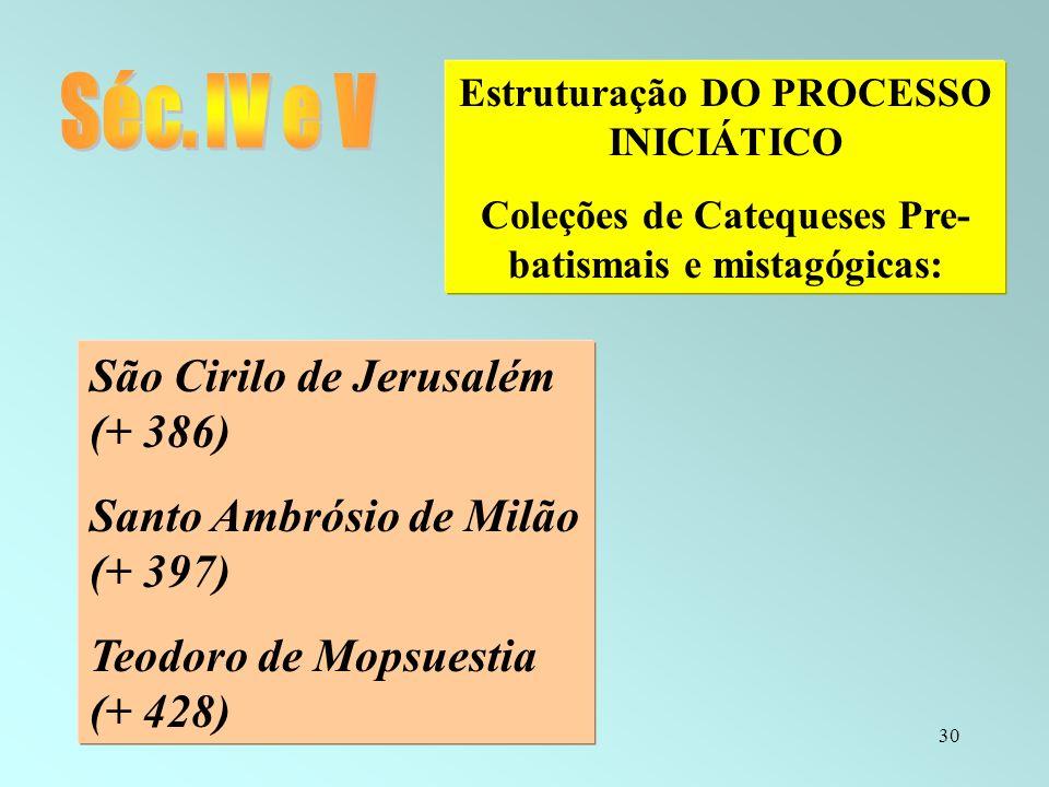 30 Estruturação DO PROCESSO INICIÁTICO Coleções de Catequeses Pre- batismais e mistagógicas: São Cirilo de Jerusalém (+ 386) Santo Ambrósio de Milão (