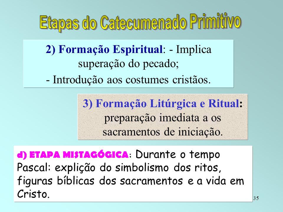 35 2) Formação Espiritual: - Implica superação do pecado; - Introdução aos costumes cristãos. 3) Formação Litúrgica e Ritual: preparação imediata a os
