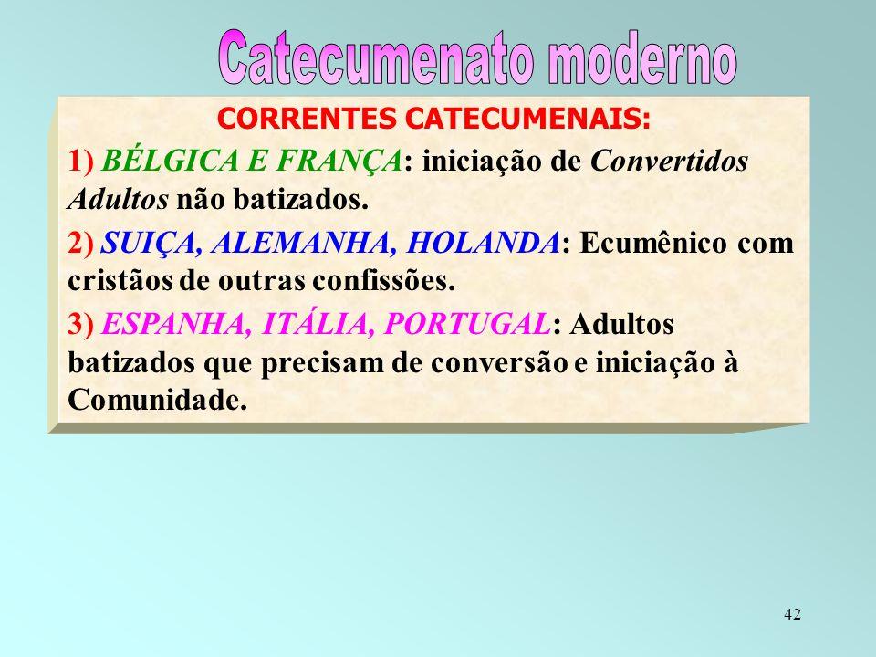42 CORRENTES CATECUMENAIS: 1) BÉLGICA E FRANÇA: iniciação de Convertidos Adultos não batizados. 2) SUIÇA, ALEMANHA, HOLANDA: Ecumênico com cristãos de