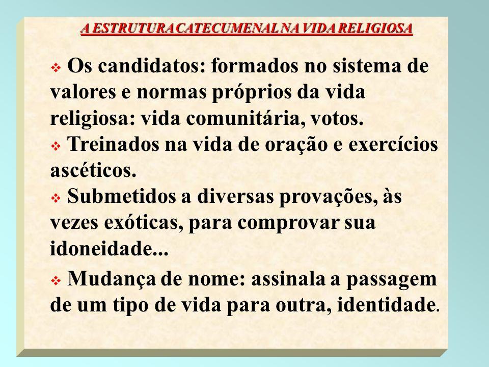 44 A ESTRUTURA CATECUMENAL NA VIDA RELIGIOSA Os candidatos: formados no sistema de valores e normas próprios da vida religiosa: vida comunitária, voto