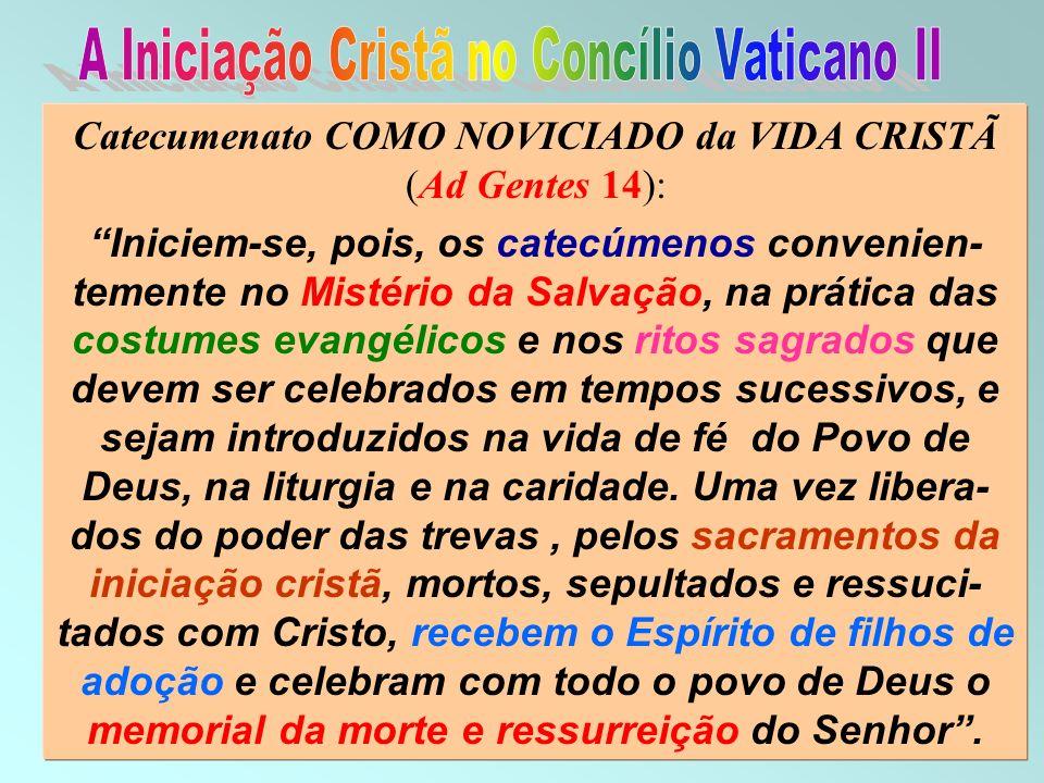 46 Catecumenato COMO NOVICIADO da VIDA CRISTÃ (Ad Gentes 14): Iniciem-se, pois, os catecúmenos convenien- temente no Mistério da Salvação, na prática