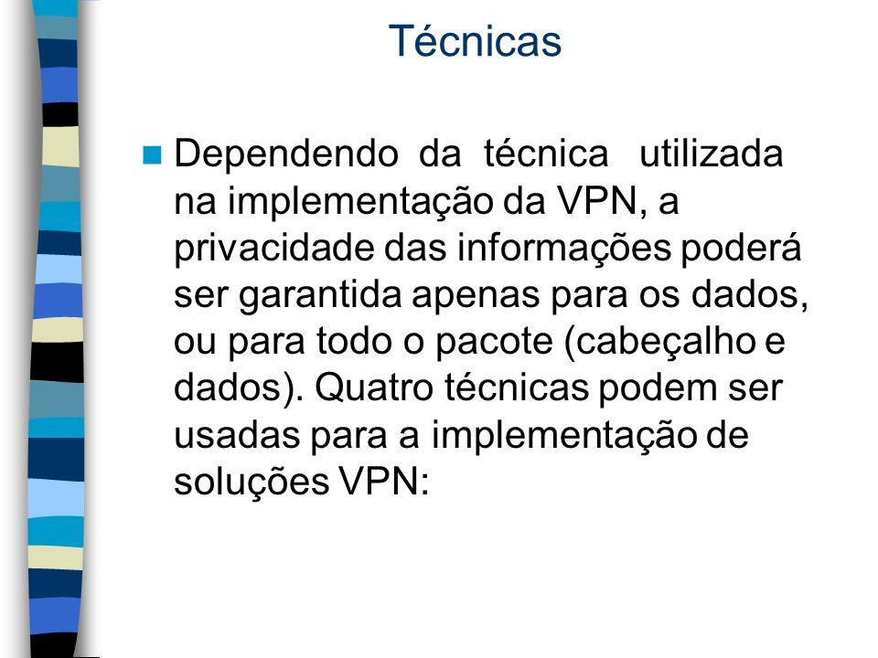 Técnicas Dependendo da técnica utilizada na implementação da VPN, a privacidade das informações poderá ser garantida apenas para os dados, ou para tod