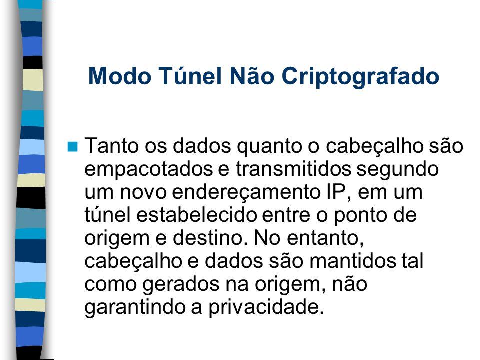Modo Túnel Não Criptografado Tanto os dados quanto o cabeçalho são empacotados e transmitidos segundo um novo endereçamento IP, em um túnel estabeleci