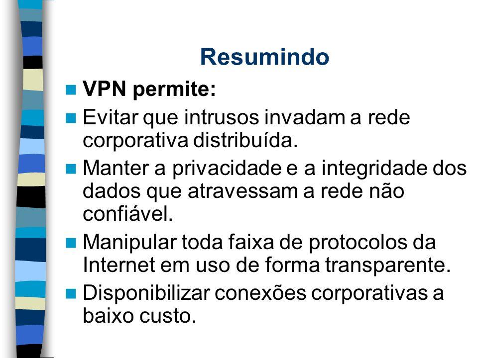 Resumindo VPN permite: Evitar que intrusos invadam a rede corporativa distribuída. Manter a privacidade e a integridade dos dados que atravessam a red