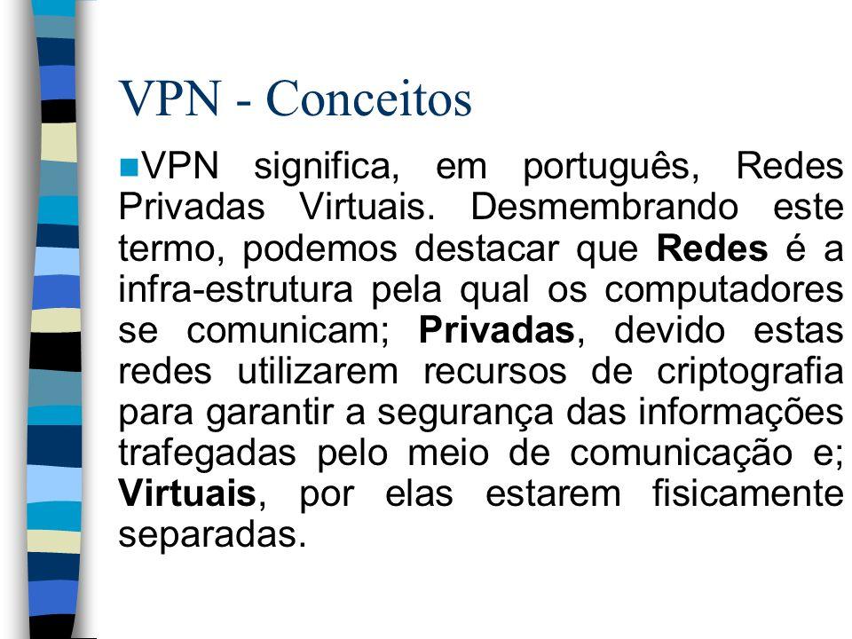 VPN - Conceitos VPN significa, em português, Redes Privadas Virtuais. Desmembrando este termo, podemos destacar que Redes é a infra-estrutura pela qua
