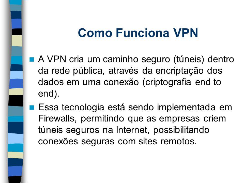 Como Funciona VPN A VPN cria um caminho seguro (túneis) dentro da rede pública, através da encriptação dos dados em uma conexão (criptografia end to e