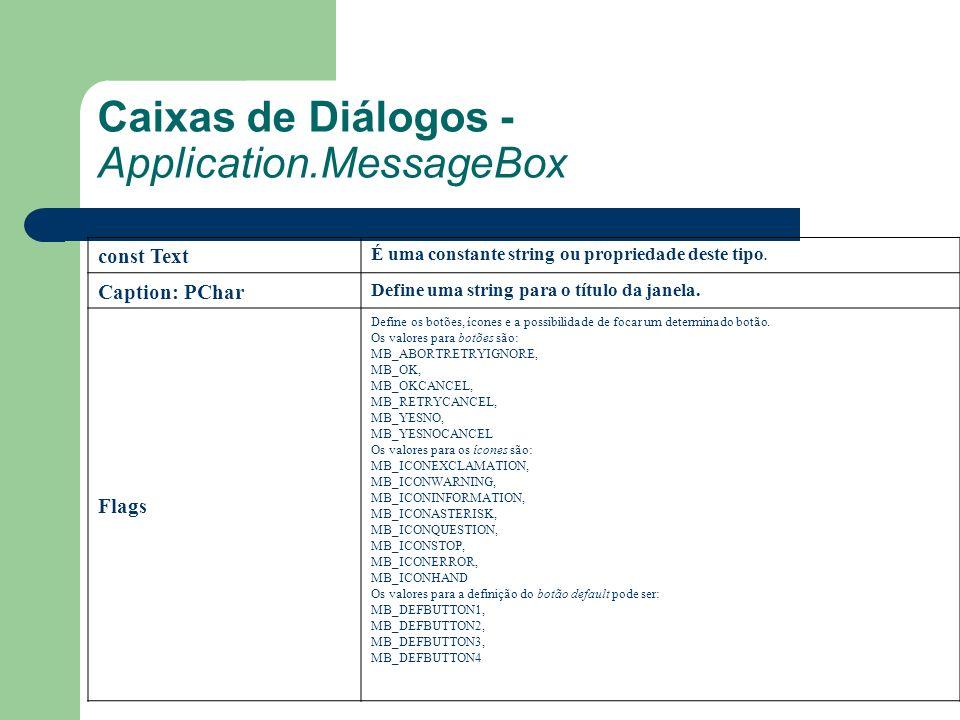 Caixas de Diálogos - Application.MessageBox const Text É uma constante string ou propriedade deste tipo.