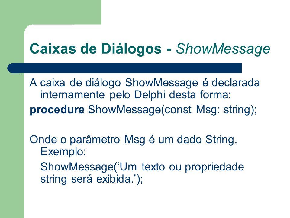 Caixas de Diálogos - ShowMessage A caixa de diálogo ShowMessage é declarada internamente pelo Delphi desta forma: procedure ShowMessage(const Msg: string); Onde o parâmetro Msg é um dado String.