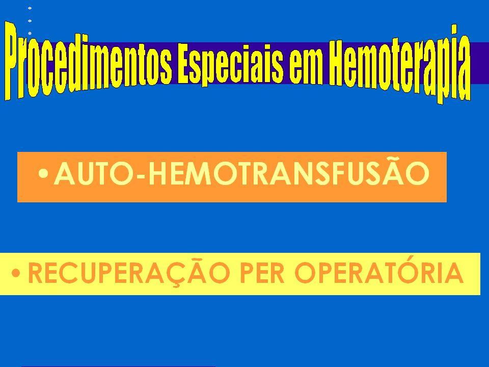 COMPLICAÇÕES NAS TRANSFUSÕES DE HEMOCOMPONENTES REAÇÃO TRANSFUSIONAL FEBRIL NÃO HEMOLÍTICA (1:200) Reação mais comum durante a transfusão Motivo: destruição de hemácias ou leucócitos, contaminação bacteriana, reação a proteínas plasmáticas, infusão de citocinas; Definição: aumento de pelo menos 1ºc na temperatura; Freqüência: 1% das transfusões de glóbulos e 30% das transfusões de plaquetas; Fisiopatologia: aloanticorpos leucocitários ou plaquetários relacionados sistema HLA ou sistemas específicos; reduzidos pelos filtros de leucócitos (75 a 90%); deleucotização pré-armazenamento: redução (de 99%) de mediadores biológicos ativos, produzidos por leucócitos, acumulados na bolsa.