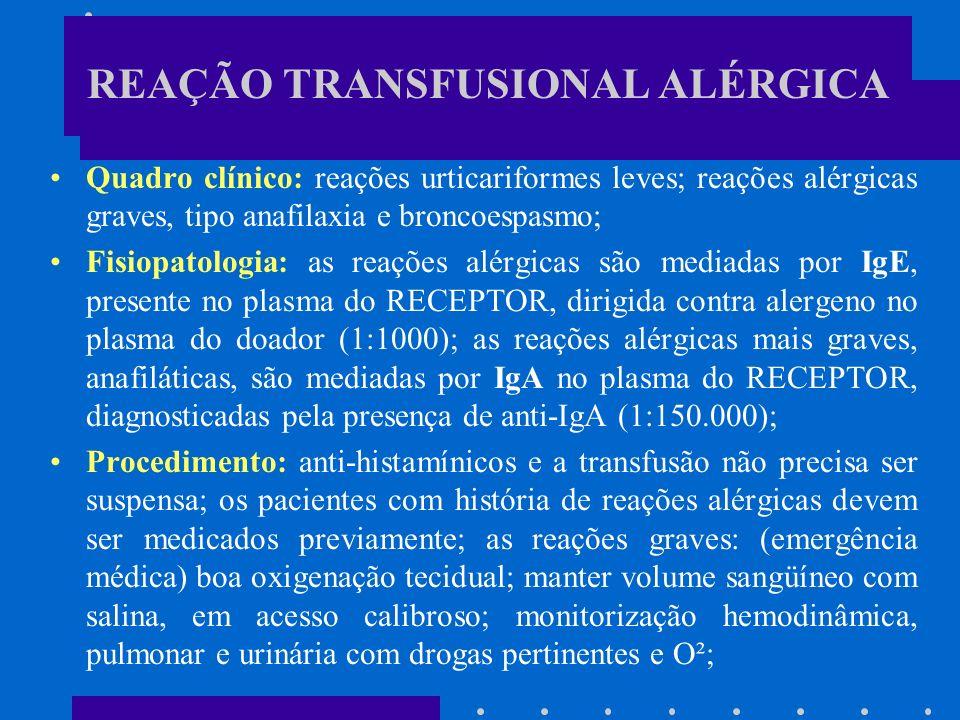 REAÇÃO TRANSFUSIONAL ALÉRGICA Quadro clínico: reações urticariformes leves; reações alérgicas graves, tipo anafilaxia e broncoespasmo; Fisiopatologia: