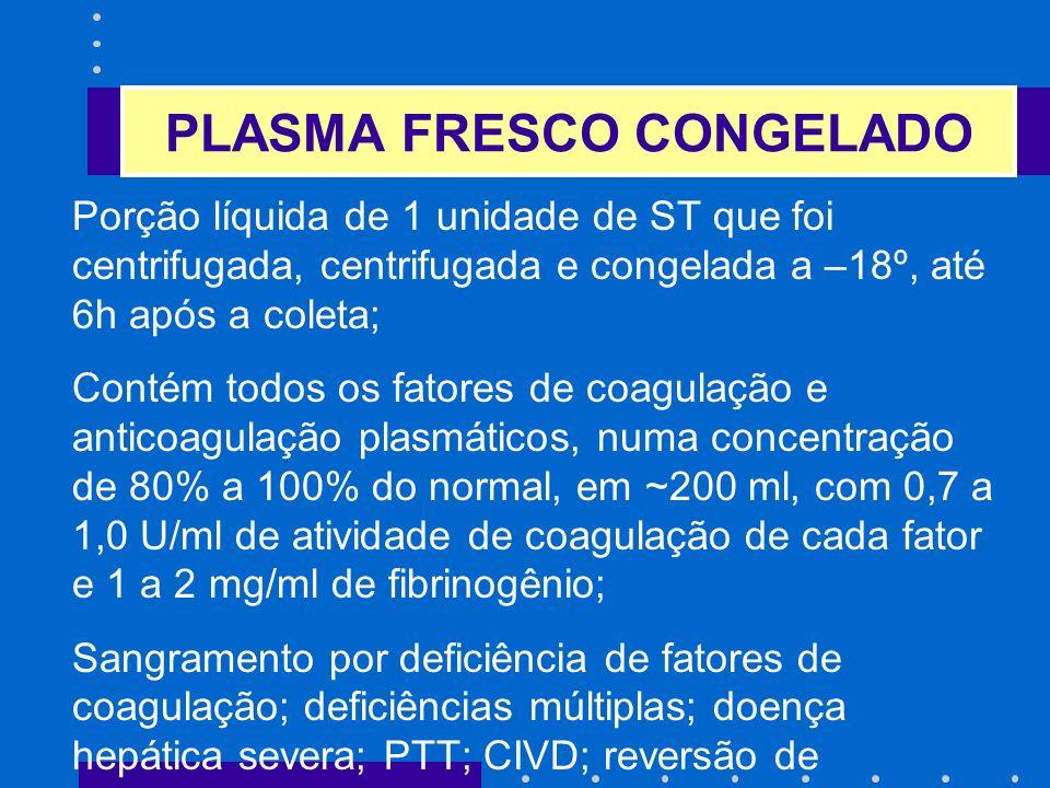 PLASMA FRESCO CONGELADO Porção líquida de 1 unidade de ST que foi centrifugada, centrifugada e congelada a –18º, até 6h após a coleta; Contém todos os