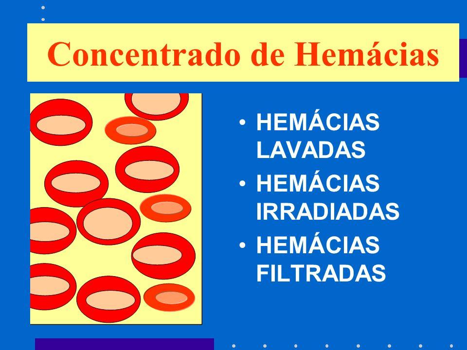 Concentrado de Hemácias HEMÁCIAS LAVADAS HEMÁCIAS IRRADIADAS HEMÁCIAS FILTRADAS