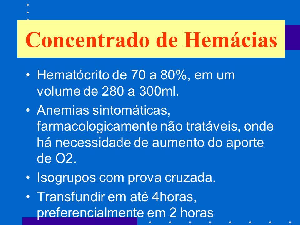 Hematócrito de 70 a 80%, em um volume de 280 a 300ml. Anemias sintomáticas, farmacologicamente não tratáveis, onde há necessidade de aumento do aporte