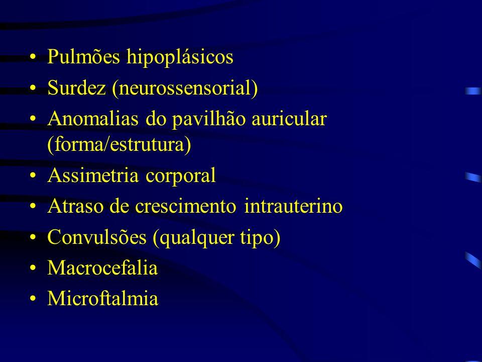 Pulmões hipoplásicos Surdez (neurossensorial) Anomalias do pavilhão auricular (forma/estrutura) Assimetria corporal Atraso de crescimento intrauterino