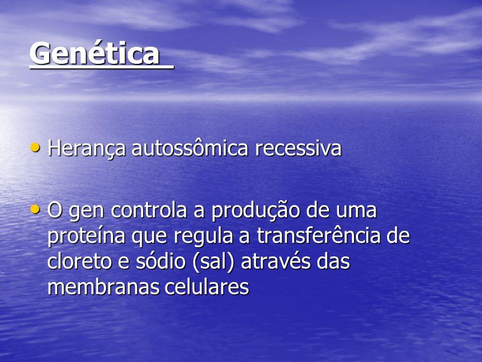 Genética Herança autossômica recessiva Herança autossômica recessiva O gen controla a produção de uma proteína que regula a transferência de cloreto e