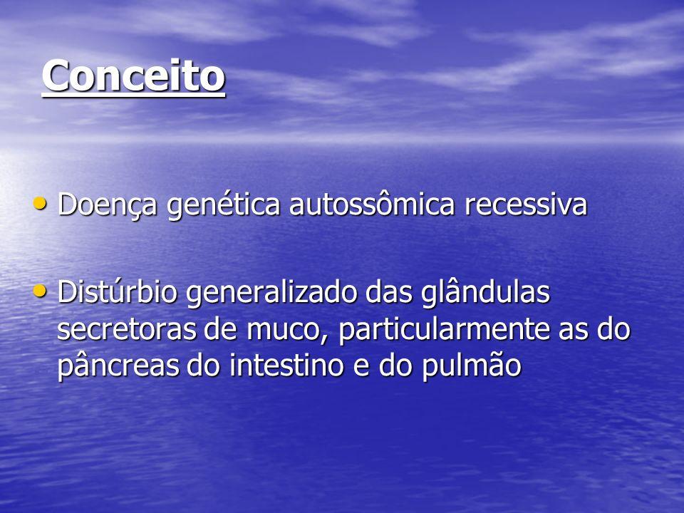 Conceito Doença genética autossômica recessiva Doença genética autossômica recessiva Distúrbio generalizado das glândulas secretoras de muco, particul
