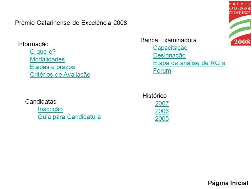 Prêmio Catarinense de Excelência 2008 Informação O que é? Modalidades Etapas e prazos Critérios de Avaliação Página Inicial Candidatas Inscrição Guia