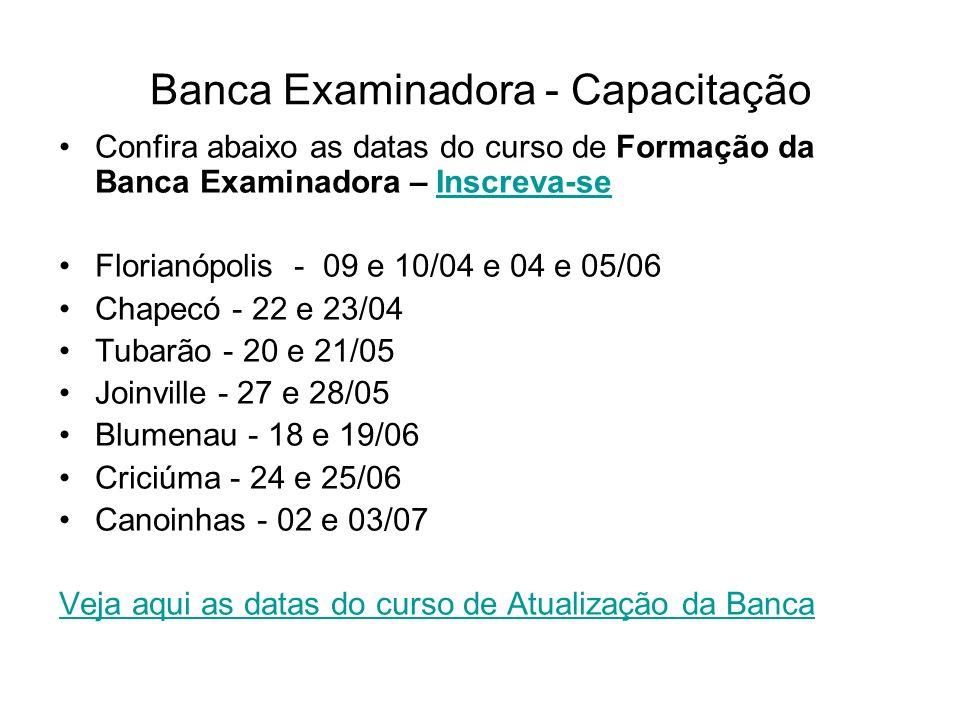 Banca Examinadora - Capacitação Confira abaixo as datas do curso de Atualização da Banca Examinadora – Inscreva-seInscreva-se Florianópolis - 11/abr e 06/jun Chapecó - 24/abr Tubarão - 22/mai Joinville - 29/mai Blumenau - 20/jun Criciúma - 26/jun Canoinhas - 04/jul