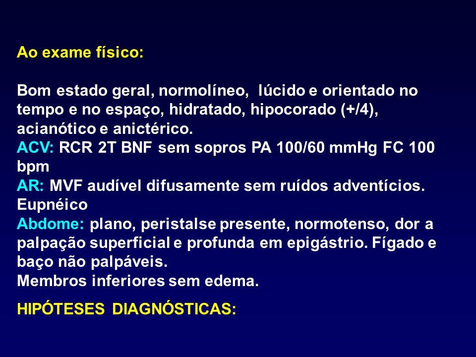 EXAMES COMPLEMENTARES: Hemograma: Hb 10 Ht 30 VCM 80 CHCM 30 Leucócitos: 10.000 com diferencial normal Plaquetas: 250.000 EDA: Úlcera gástrica em atividade (A1 de Sakita) com vaso visível não sangrante (Forrest IIA).