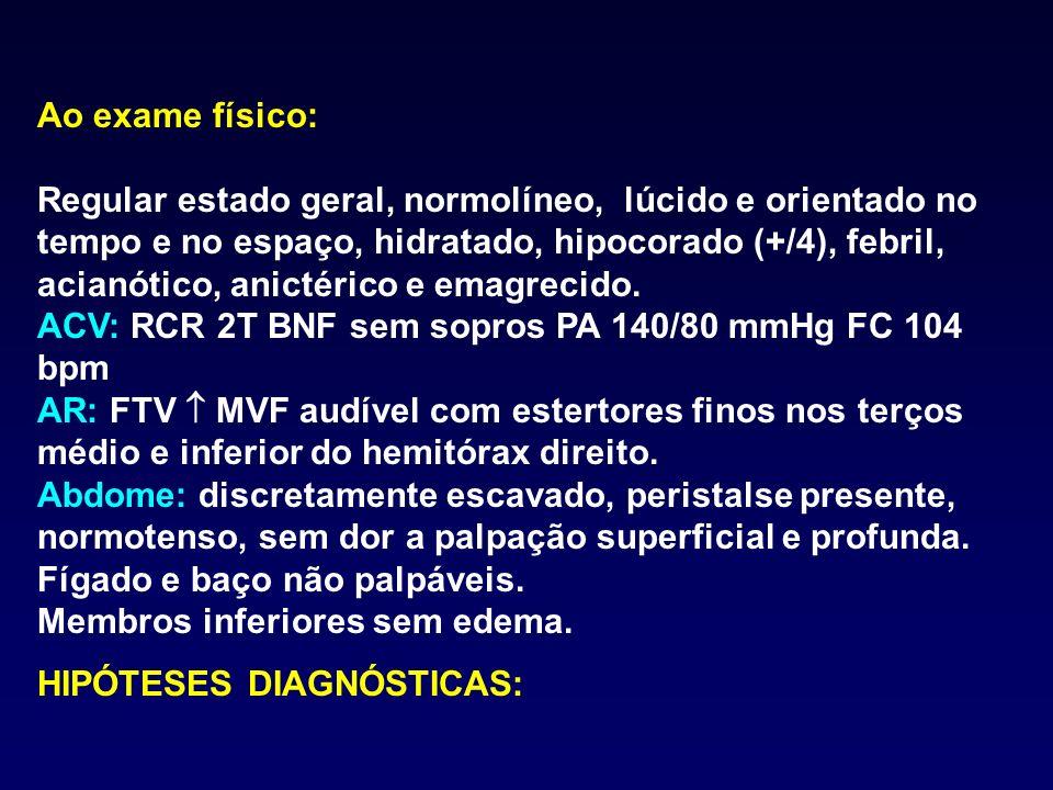 EXAMES COMPLEMENTARES: Hemograma: Hb 11,2 Ht 33 VCM 84 CHCM 35 Leucócitos: 14.400 (B-16% S- 55% E- 4% L- 20% M-5%) Plaquetas: 250.000 RX de tórax: REED (RX contrastado): EDA: DIAGNÓSTICO E TRATAMENTO: