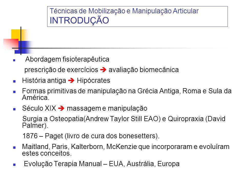 Técnicas de Mobilização e Manipulação Articular INTRODUÇÃO Abordagem fisioterapêutica prescrição de exercícios avaliação biomecânica História antiga H