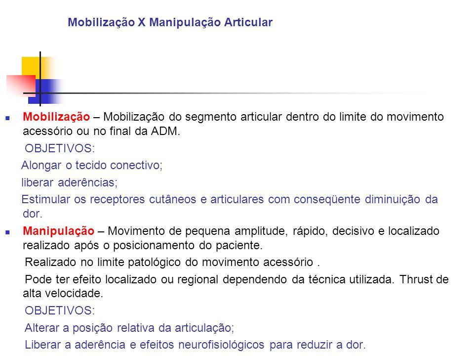 Mobilização X Manipulação Articular Mobilização – Mobilização do segmento articular dentro do limite do movimento acessório ou no final da ADM. OBJETI