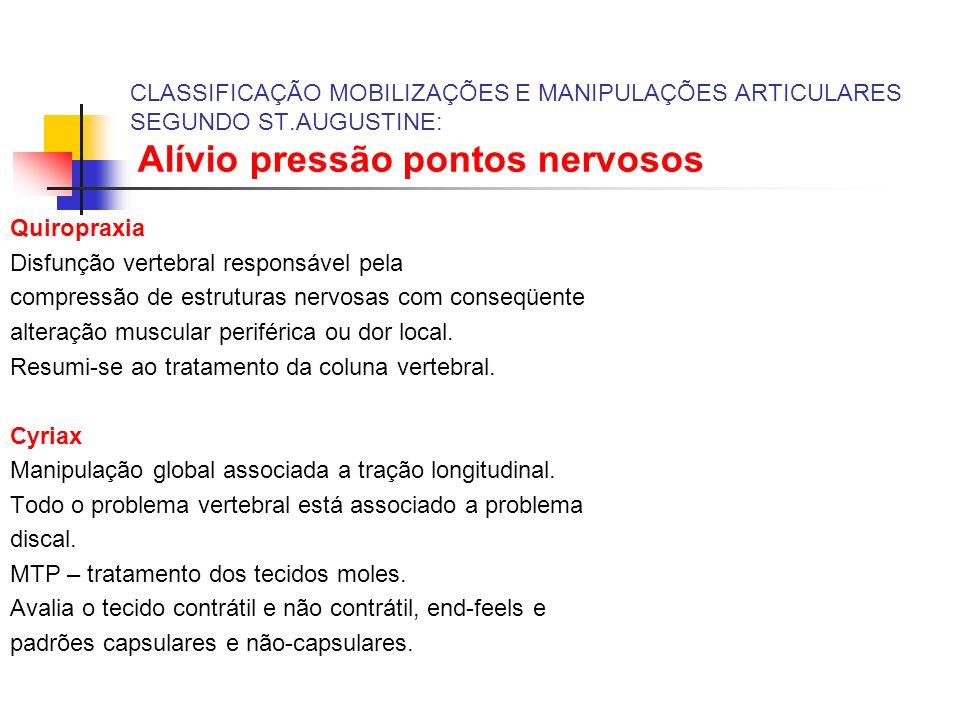 CLASSIFICAÇÃO MOBILIZAÇÕES E MANIPULAÇÕES ARTICULARES SEGUNDO ST.AUGUSTINE: Alívio pressão pontos nervosos Quiropraxia Disfunção vertebral responsável